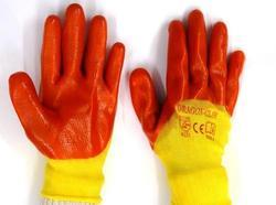 Yellow Nylon Shell with Orange PVC Three Fourth Dipped Gloves