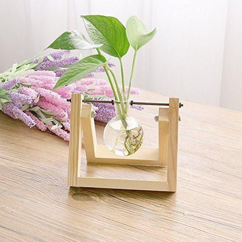 Glass Planter Bulb Vase With Retro Solid Wooden Stand At Rs 1099