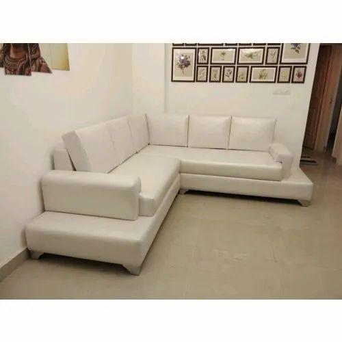 White Solid Wood Living Room L Shape Sofa Set Rs 30000 Set Modern Sofa Shop Id 20480747748