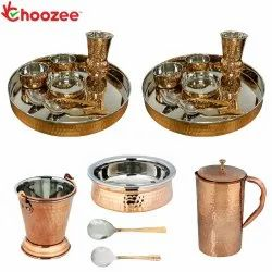 Choozee - Stainless Steel Copper Thali Set with Matka Glass, Serveware & Hammered Pitcher Jug