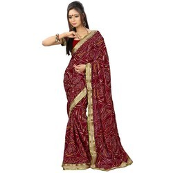 Maroon, Golden Party wear Fancy Bandhani Saree, Dry clean, Packaging Type: Box