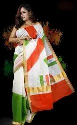Casual Wear Traditional Printed kerala cotton sarees, 5.5 m (separate blouse piece), With blouse piece