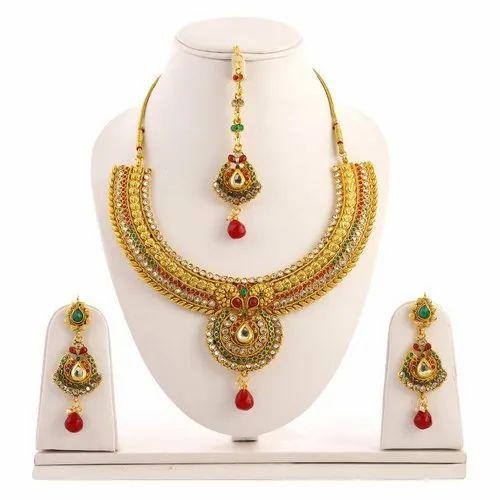 Golden Designer Artificial Necklace Sets, Occasion: Party