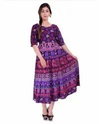 Round Neck Cotton Printed Jaipuri Frocks