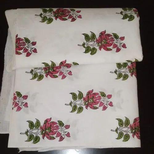 Block Printed, Running Fabric, Cotton Printed Fabric, Floralprint, Multicolor