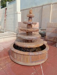 Rainbow Sandstone Round Garden Fountain