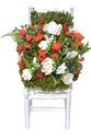 Valley Of Flowers Wood Artificial Mix Roses On A Chair