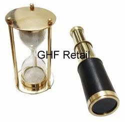 GHF Retail Black Pocket Telescope and Sleek Brass Hourglass . Nautical and Desk Decor