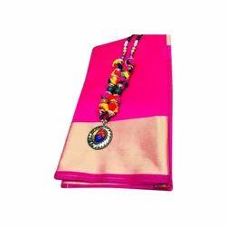 Ladies Silk Pink Saree, Length: 6 m