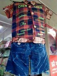 Cotton(shirt), Denim(pant) Party Wear Kids Pant Shirt Set, 5-10 Year