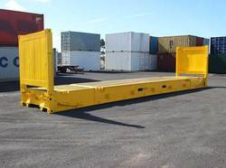 Galvanized Steel Yellow Flat Rack Shipping Container, Capacity: 50-60 ton