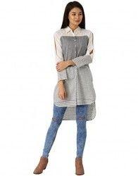 Women White And Grey Self Print Handloom Shirt