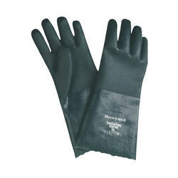 Green Medium And Large PVC Supported Gloves