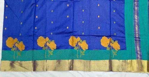 Navy Blue Jute Silk Sarees, Rs 1750 /piece WOOPiCK com | ID: 18029850555