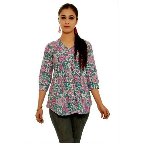 Ladies Cotton V-Neck Fancy Tops, Size: S to XL