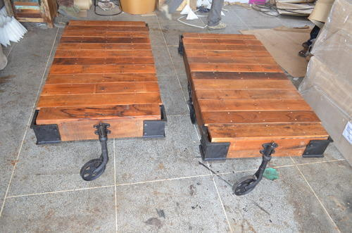 Wood Brown Industrial Cart Coffee Table Rs 6000 Piece Raghavendra Export Id 14956211655