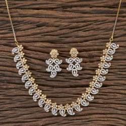 CZ Classic Necklace with Two Tone Plating 406519