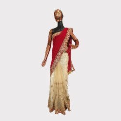 Red Velvet and Golden Designer Saree