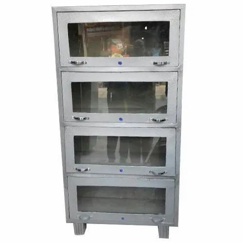 Double Door Polished Steel Cupboard, 4, for Office