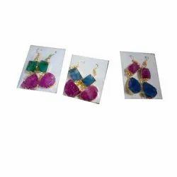 Agate Golden Druzy Earrings