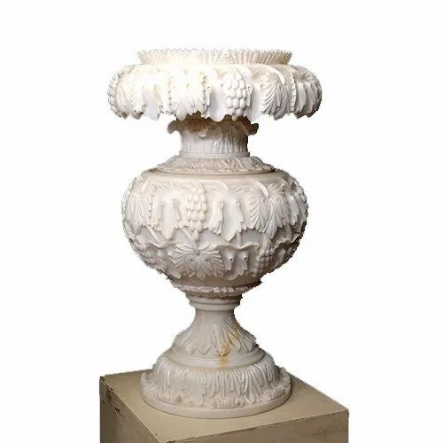 Polished Marble Flower Planter For Decoration Purpose