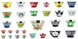 Hand Painted Floral Stainless Steel Metal Deep Mixing Bowls Caterer Salad