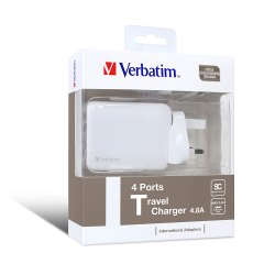 Verbatim 4 Ports Travel Mobile Charger (with 4 Swappable International Adapters) 4.8A - White