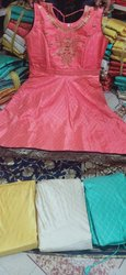 Silk Embroidered Ladies Readymade Garments, Size: Free Size
