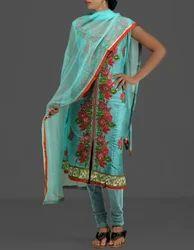 Tussar Silk Embroidery Salwar Kameez