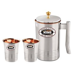 Round 3Pcs Mr. Copper King SS Copper Water Set, Capacity: 1 Liters