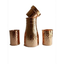 1.2 L Copper Water Jug With 2 Glass Set