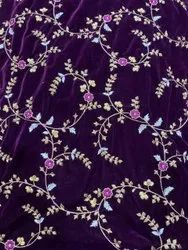 Purple and Golden Sequin Embroidery Velvet Fabric