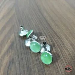 10mm Brass & Stone Dome Pearl Rivets Green