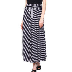 White-Black Striped Long Skirt