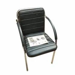 Black Leatherette SS Visitor Chair