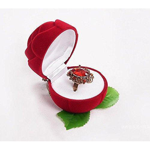 Red And Green Red Rose Flower Ring Box