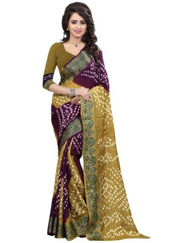 c320edf36c Green & Maroon Cotton Silk Printed Women's Saree, With Blouse Piece ...