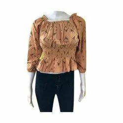Cotton Casual Ladies Printed Top, Size: Free Size