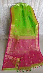 Party Wear Pure Lilen embroidery saree, 6 m (with blouse piece)