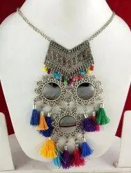 NK Enterprises Alloy NK Handmade Oxidized Mirror Necklace, Size: Free