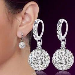 Women Girl Sterling Silver Crystal Disco Ball Dangle Drop Earrings