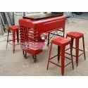 Jangid Art And Crafts Vintage Industrial Tractor Converted Bar Table, Size: 115x62x180 Cms