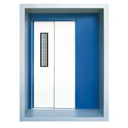 Standard White And Blue Telescopic Elevator Door