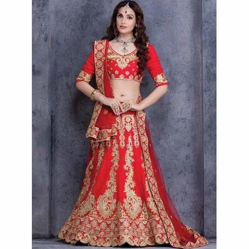 2e50b2f2b6 Semi-Stitched Red And Golden Bridal Lehenga, Rs 2500 /piece | ID ...