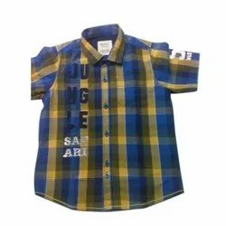 Party Wear Kids Half Sleeves Cotton Check Shirt