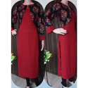 Cotton 3/4th Sleeve Straight Kurti With Jacket