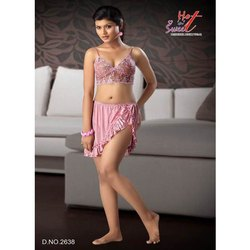 Designer Satin Netted Nightwear