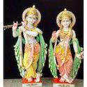 Multi Color Marble Radha Krishna Statue