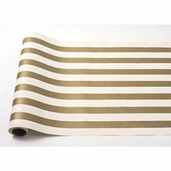 Golden/ Black Stripe Paper Table Roll