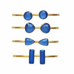 Blue Chalcedony Gemstone Adjustable Bangle